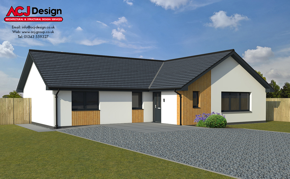 Douglas house type elevation with ACJ Design Logo - 3D Render Image