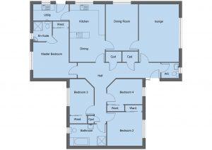 Douglas house type floor plan - 4 bedroom bungalow - 151m2 floor area