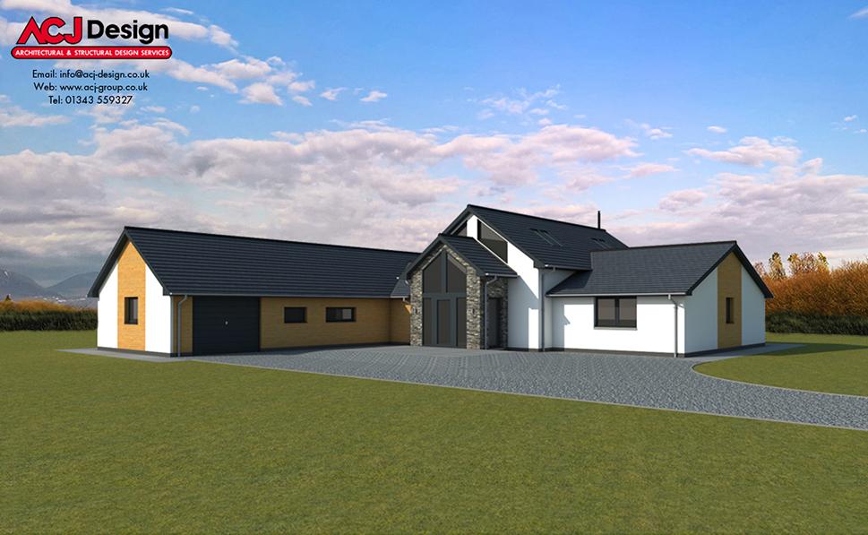 McKellen house type elevation with ACJ Design Logo - 3D Render Image front view