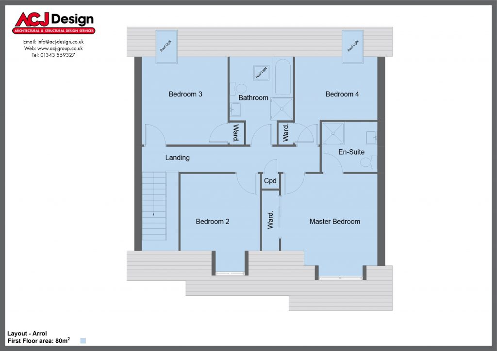 Arrol house type first floor plan with ACJ Design Logo - 4 bedroom 1 1 ¾ Storey Range - 173m2 floor area