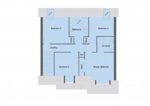 Arrol house type first floor plan - 4 bedroom 1 1 ¾ Storey Range - 173m2 floor area