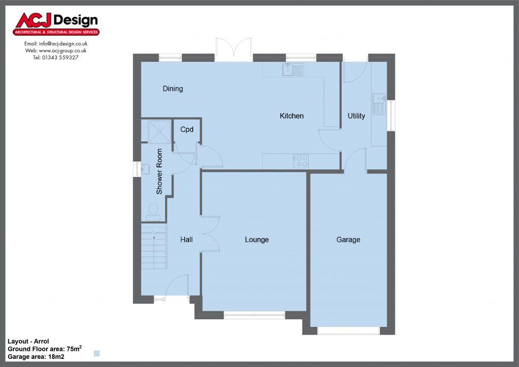 Arrol house type ground floor plan with ACJ Design Logo - 4 bedroom 1 ¾ Storey Range - 173m2 floor area
