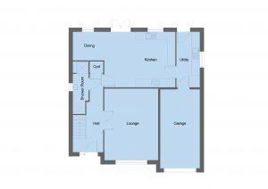 Arrol house type ground floor plan - 4 bedroom 1 ¾ Storey Range - 173m2 floor area
