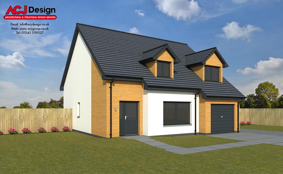 Arrol house type elevation with ACJ Design Logo - 3D Render Image