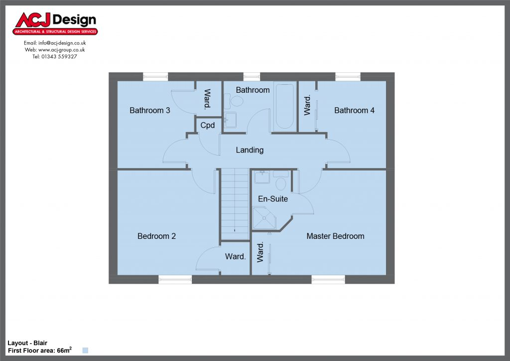Blair house type first floor plan with ACJ Design Logo - 4 bedroom 2 Storey Range - 134m2 floor area