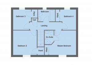 Blair house type first floor plan - 4 bedroom 2 Storey Range - 134m2 floor area