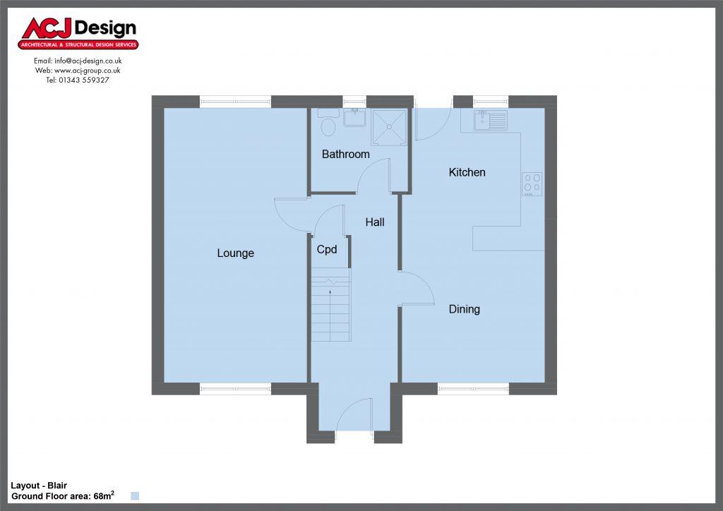 Blair house type ground floor plan with ACJ Design Logo - 4 bedroom 2 Storey Range - 134m2 floor area