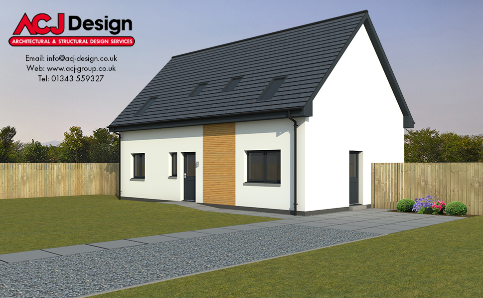 Boswell house type elevation with ACJ Design Logo - 3D Render Image
