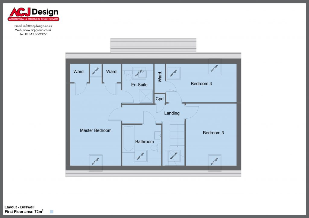 Boswell house type first floor plan with ACJ Design Logo - 4 bedroom 1 1 ¾ Storey Range - 148m2 floor area
