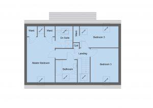Boswell house type first floor plan - 4 bedroom 1 1 ¾ Storey Range - 148m2 floor area