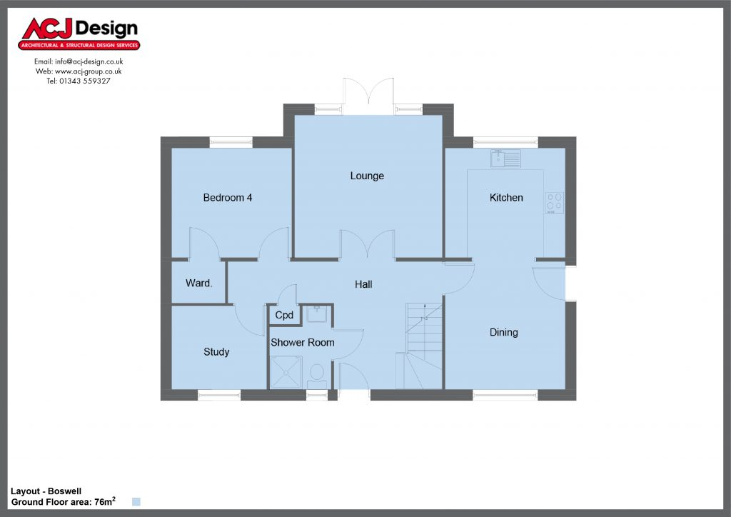 Boswell house type ground floor plan with ACJ Design Logo - 4 bedroom 1 ¾ Storey Range - 148m2 floor area