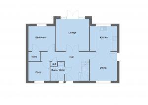 Boswell house type ground floor plan - 4 bedroom 1 ¾ Storey Range - 148m2 floor area