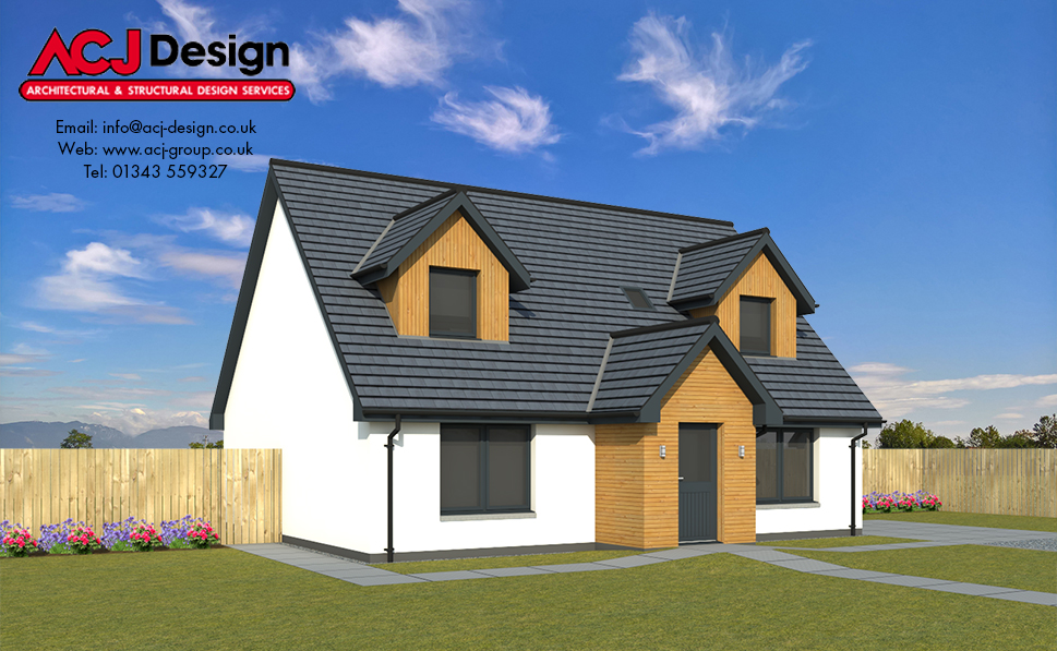 Braid house type elevation with ACJ Design Logo - 3D Render Image