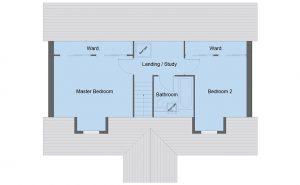 Braid house type first floor plan - 4 bedroom 1 ½ Storey Range - 128m2 floor area