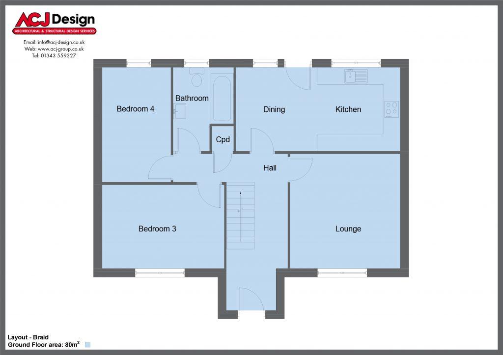 Braid house type ground floor plan with ACJ Design Logo - 4 bedroom 1 ½ Storey Range - 128m2 floor area