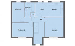 Braid house type ground floor plan - 4 bedroom 1 ½ Storey Range - 128m2 floor area