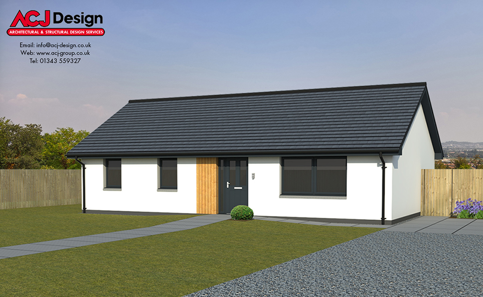 Broach house type elevation with ACJ Design Logo - 3D Render Image