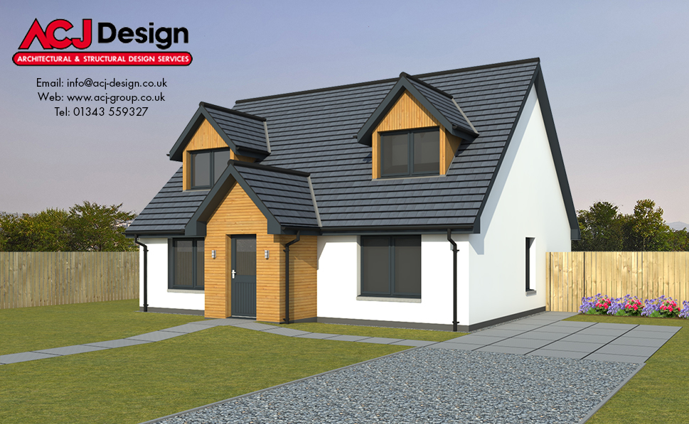 Bruce house type elevation with ACJ Design Logo - 3D Render Image