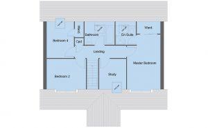 Bruce house type first floor plan - 4 bedroom 1 ½ Storey Range - 151m2 floor area