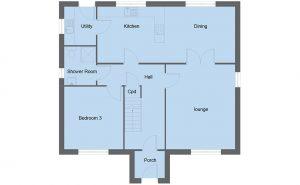 Bruce house type ground floor plan - 4 bedroom 1 ½ Storey Range - 151m2 floor area