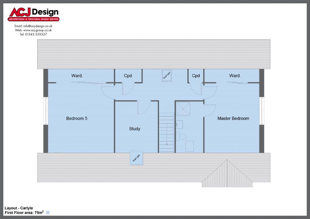 Carlyle house type first floor plan with ACJ Design Logo - 5 bedroom 1 ½ Storey Range - 185m2 floor area