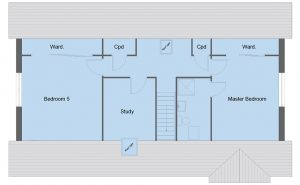 Carlyle house type first floor plan - 5 bedroom 1 ½ Storey Range - 185m2 floor area