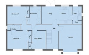 Carlyle house type ground floor plan - 5 bedroom 1 ½ Storey Range - 185m2 floor area