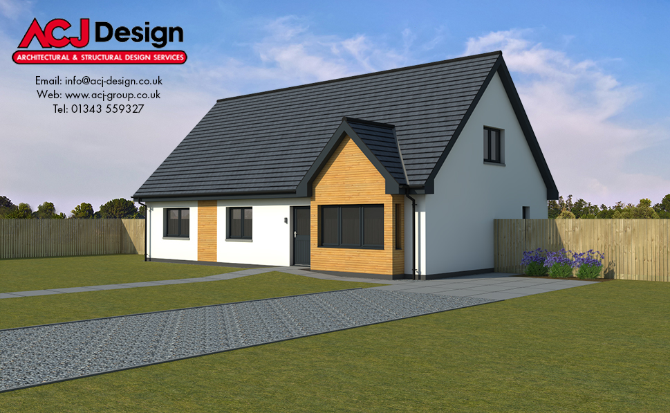 Carlyle house type elevation with ACJ Design Logo - 3D Render Image