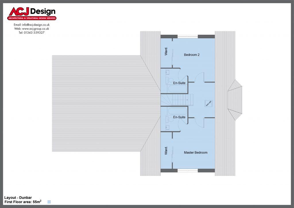 Dunbar house type first floor plan with ACJ Design Logo - 5 bedroom 1 ½ Storey Range - 195m2 floor area