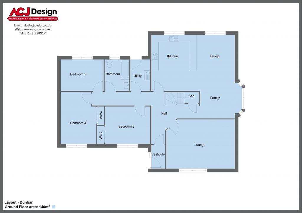 Dunbar house type ground floor plan with ACJ Design Logo - 5 bedroom 1 ½ Storey Range - 195m2 floor area