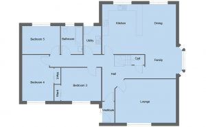 Dunbar house type ground floor plan - 5 bedroom 1 ½ Storey Range - 195m2 floor area