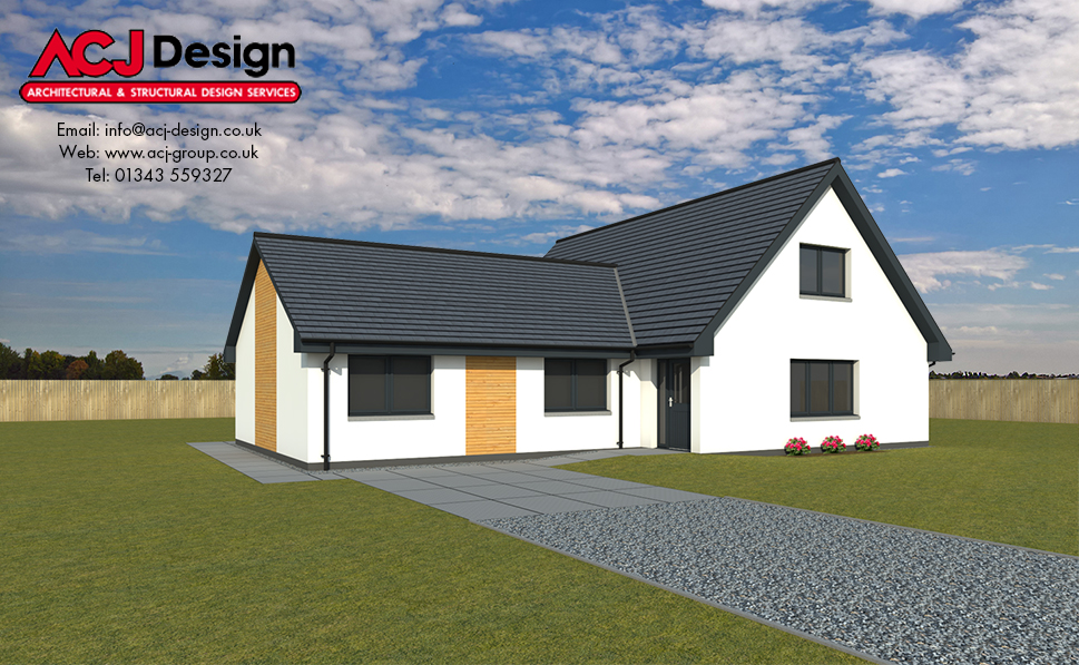 Dunbar house type elevation with ACJ Design Logo - 3D Render Image