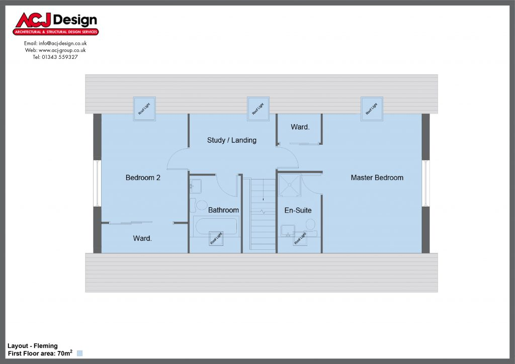 Fleming house type first floor plan with ACJ Design Logo - 3 bedroom 1 ½ Storey Range - 161m2 floor area
