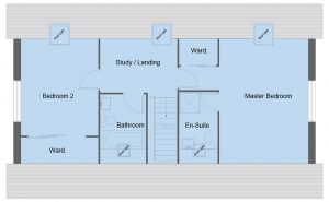 Fleming house type first floor plan - 3 bedroom 1 ½ Storey Range - 161m2 floor area