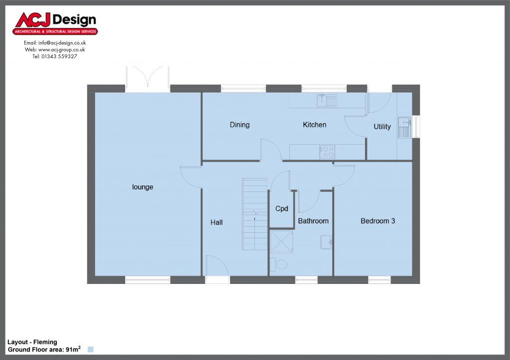 Fleming house type ground floor plan with ACJ Design Logo - 3 bedroom 1 ½ Storey Range - 161m2 floor area