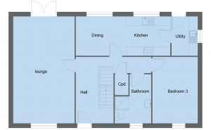 Fleming house type ground floor plan - 3 bedroom 1 ½ Storey Range - 161m2 floor area
