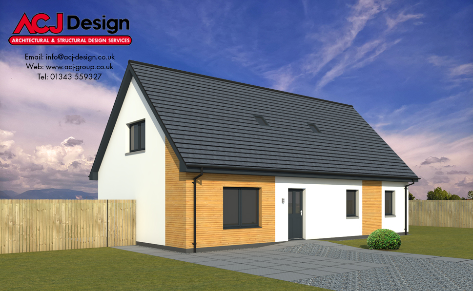 Fleming house type elevation with ACJ Design Logo - 3D Render Image