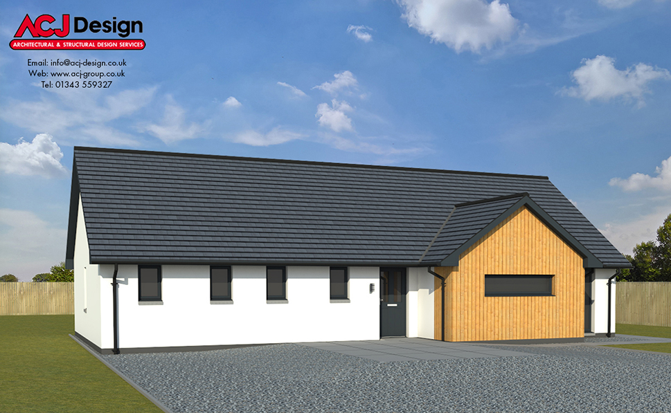 Forsyth house type elevation with ACJ Design Logo - 3D Render Image