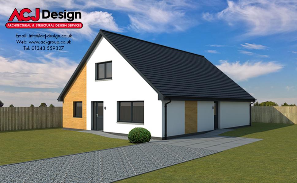 Fraser house type elevation with ACJ Design Logo - 3D Render Image