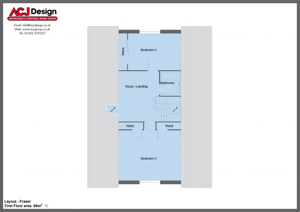 Fraser house type first floor plan with ACJ Design Logo - 4 bedroom 1 ½ Storey Range - 190m2 floor area