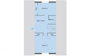 Fraser house type first floor plan - 4 bedroom 1 ½ Storey Range - 190m2 floor area