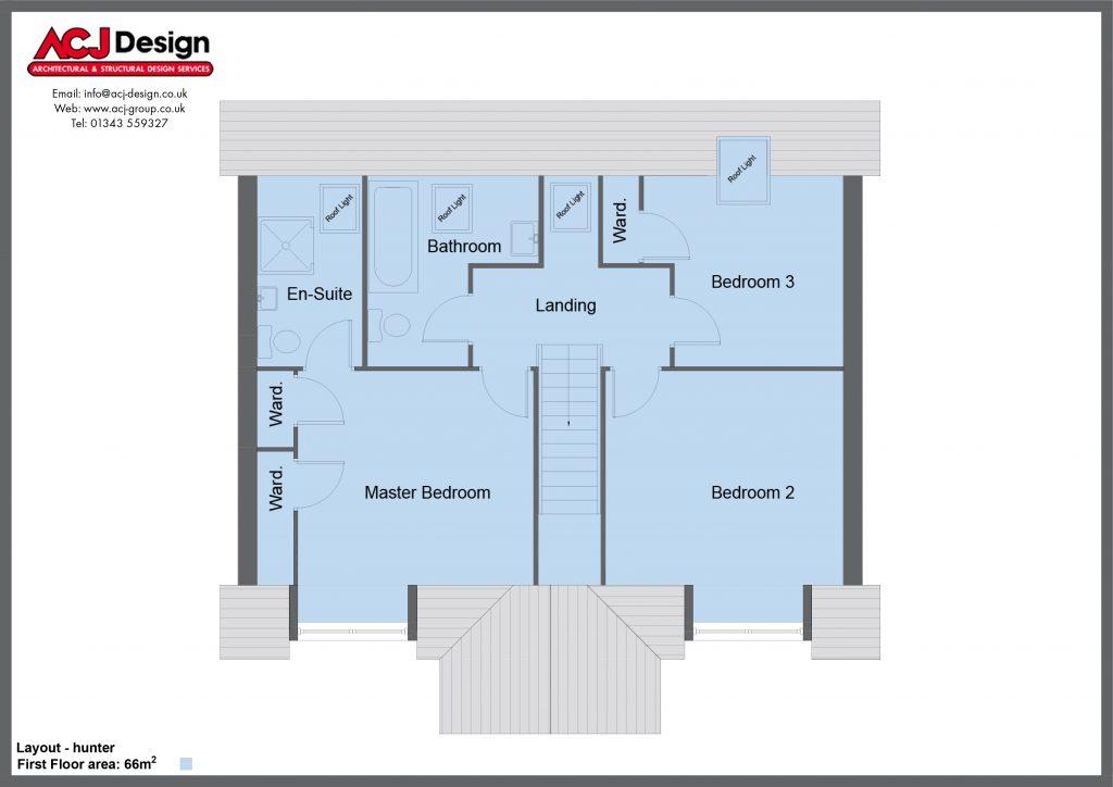 Hunter house type first floor plan with ACJ Design Logo - 4 bedroom 1 1 ¾ Storey Range - 144m2 floor area