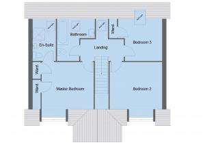 Hunter house type first floor plan - 4 bedroom 1 1 ¾ Storey Range - 144m2 floor area