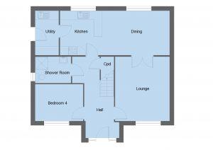 Hunter house type ground floor plan - 4 bedroom 1 ¾ Storey Range - 144m2 floor area