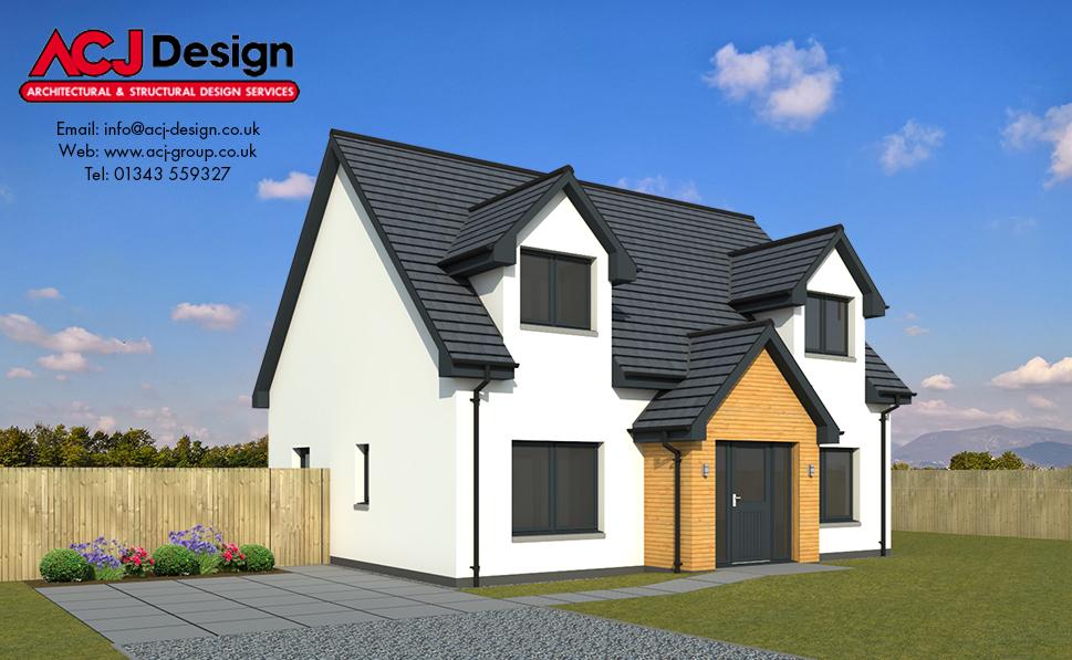 Hunter house type elevation with ACJ Design Logo - 3D Render Image