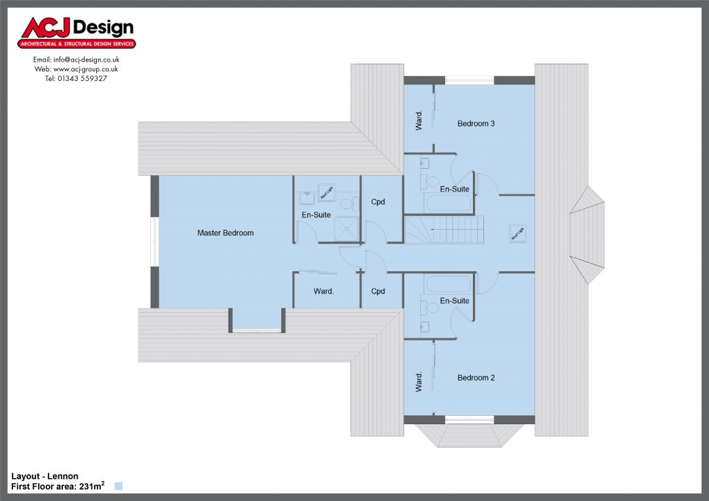 Lennon house type first floor plan with ACJ Design Logo - 5 bedroom 1 ½ Storey Range - 246m2 floor area