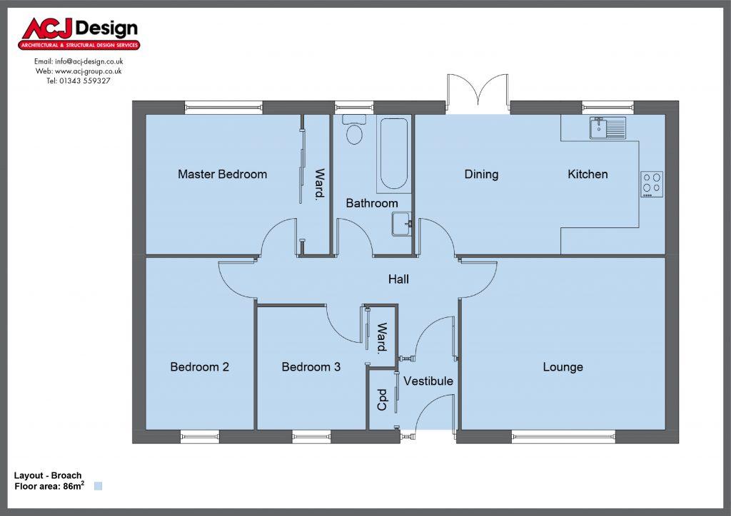 Broach house type floor plan with ACJ Design Logo - 3 bedroom bungalow - 86m2 floor area