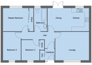 Broach house type floor plan - 3 bedroom bungalow - 86m2 floor area