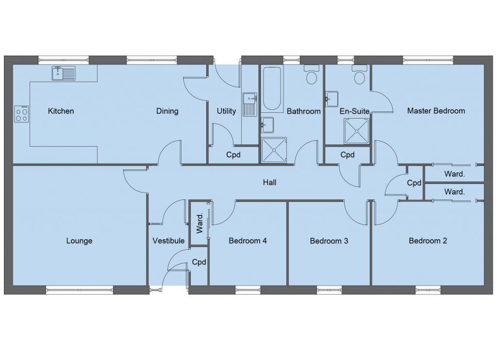 Campbell house type floor plan - 4 bedroom bungalow - 131m2 floor area