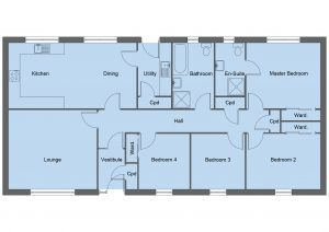 Campbell house type floor plan - 4 bedroom bungalow - 131m2 floor area